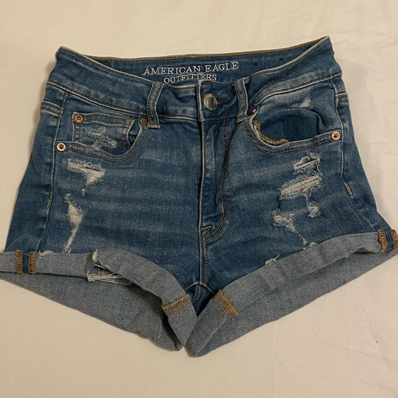 American Eagle Distressed High Rise Jean Shorts